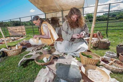 Demonstrations of neolithic food and crafts at Bryn Celli Ddu by www.sallypointer.com