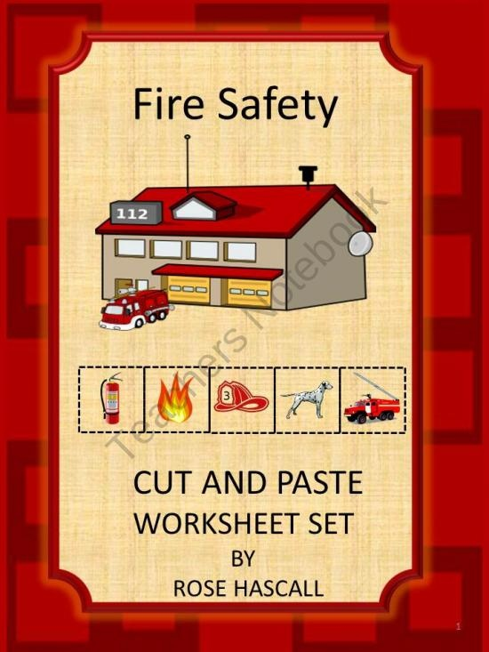 Fire Safety Cut and Paste Worksheets- preK, K and Special Education from smalltowngiggles on TeachersNotebook.com (18 pages)