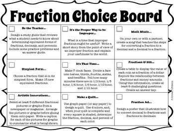 This is a choice board based on the Common Core State Standards for fifth grade regarding fractions.   The choice board is made up of 9 boxes with 9 different activities.You could have they complete the board in a variety of ways: tic-tac-toe ( 3 in a row), a certain number, or a coverall.