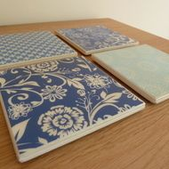 Blue patterned tile coasters - £10