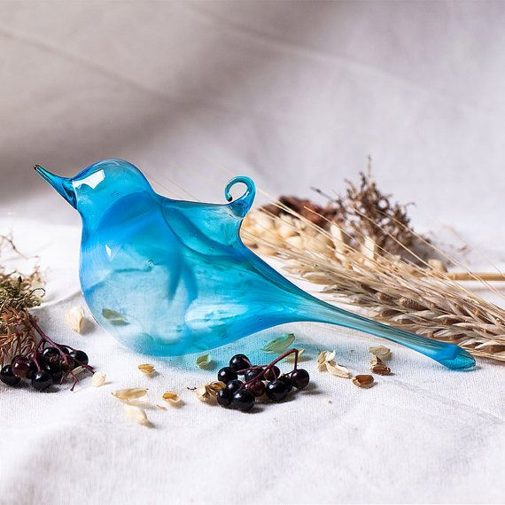 Hand Blown Glass Light Blue Bird Easter Ornament, Spring Home Decor, Easter Decor, Suncatcher, Gift under 10- 2153 on Etsy, £3.39