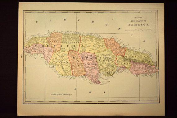 Jamaica Map Jamaica Island Isle Antique Original Early 1900s