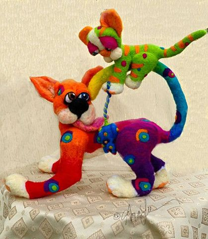 Dog Named Chase, Cat named Scat, by Alma Lee, Needle Felted sculpture, Original 1 of a Kind.