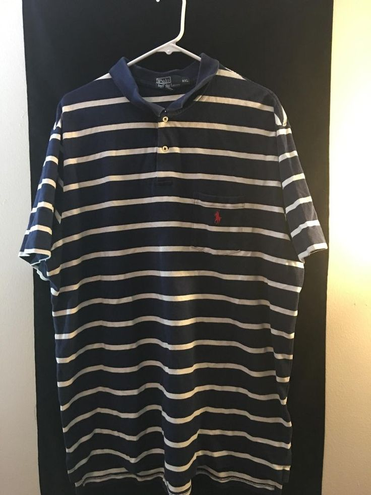 Polo By Ralph Laure Blue Stripped 100% Cotton Polo Shirt Mens Size XXL Red Pony #RalphLauren #PoloRugby