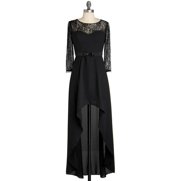 Max and Cleo Epitome of an Enchantress Dress ($190) ❤ liked on Polyvore featuring dresses, vestidos, black, lace, modcloth, stretchy dresses, sleeved dresses, stretchy lace dress, stretch lace dress and metallic dress