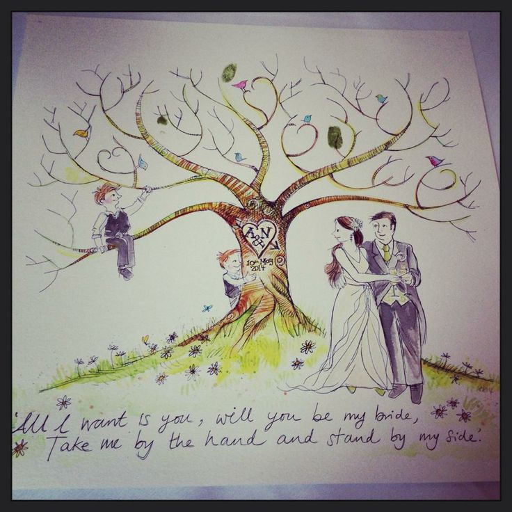 Tree thumb print with the lyrics of the Processional Song :-)