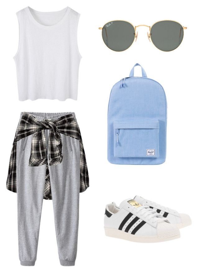 """Airplane Outfit ✈️"" by sylf727 ❤ liked on Polyvore featuring Ray-Ban, adidas Originals and Herschel Supply Co."