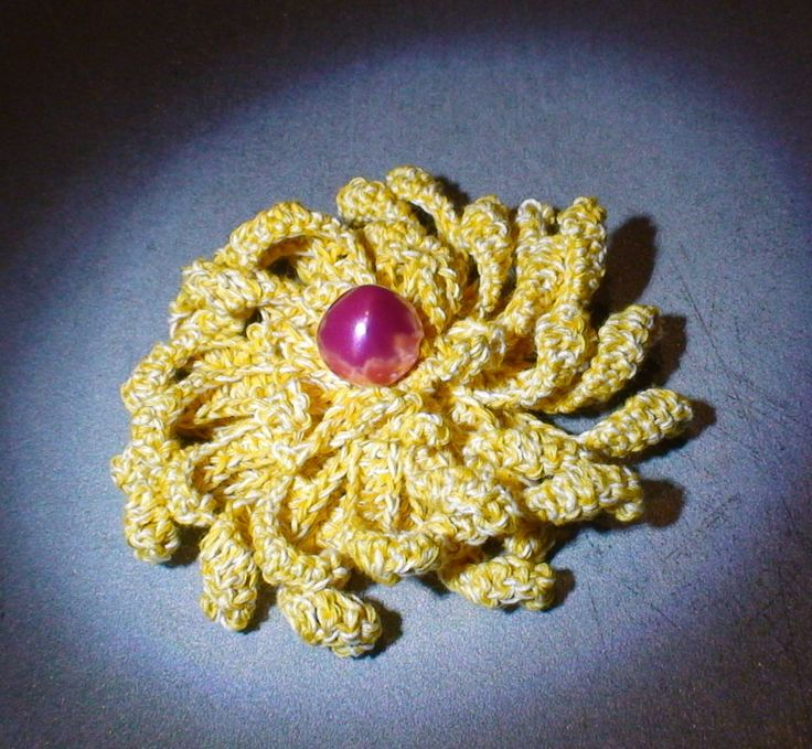 Crochet yellow brooch, flower brooch, flower brooch with bead by AnuCraft on Etsy