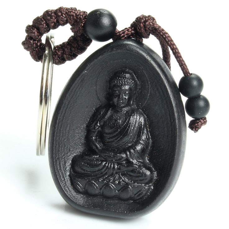 Chinese Traditional Ebony Wood Sculpture Buddha Had Peace All Year Round Car Key Ring Keychain Trinket Pendant Bag Accessories