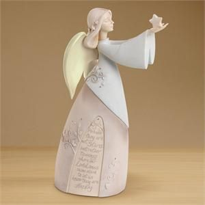 "Memorial Angel with the beloved Eskimo Proverb: ""Perhaps they are not stars in the sky but rather openings where our loved ones shine down to let us know they are happy.""  $44.99 + FREE SHIPPING #MemorialAngelComforters Bereavement, Sympathy Gift, Bereavement Gift, Beautiful Angels, Memories Angels, Gift Ideas, Bereavement Angels, Gift Angels, Angels Figurines"