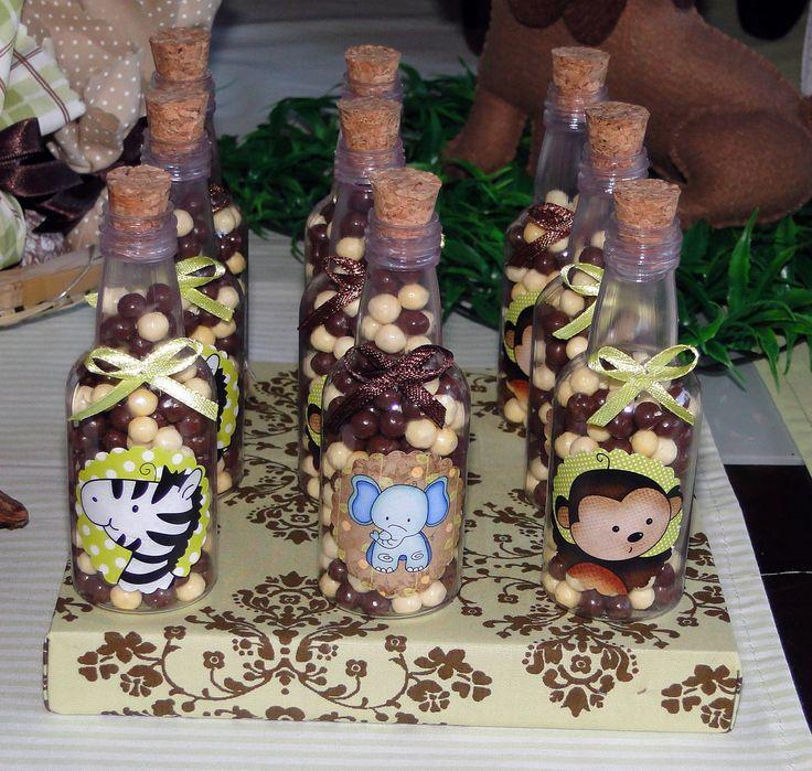Bi-Bia e Cia: Cha de bebe safari  garrafinhas com balinhas ou chocolate