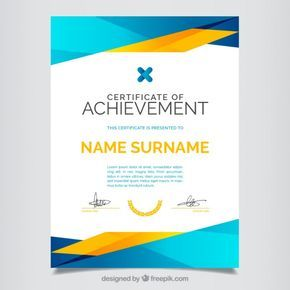Certificate of achievement, full color Free Vector