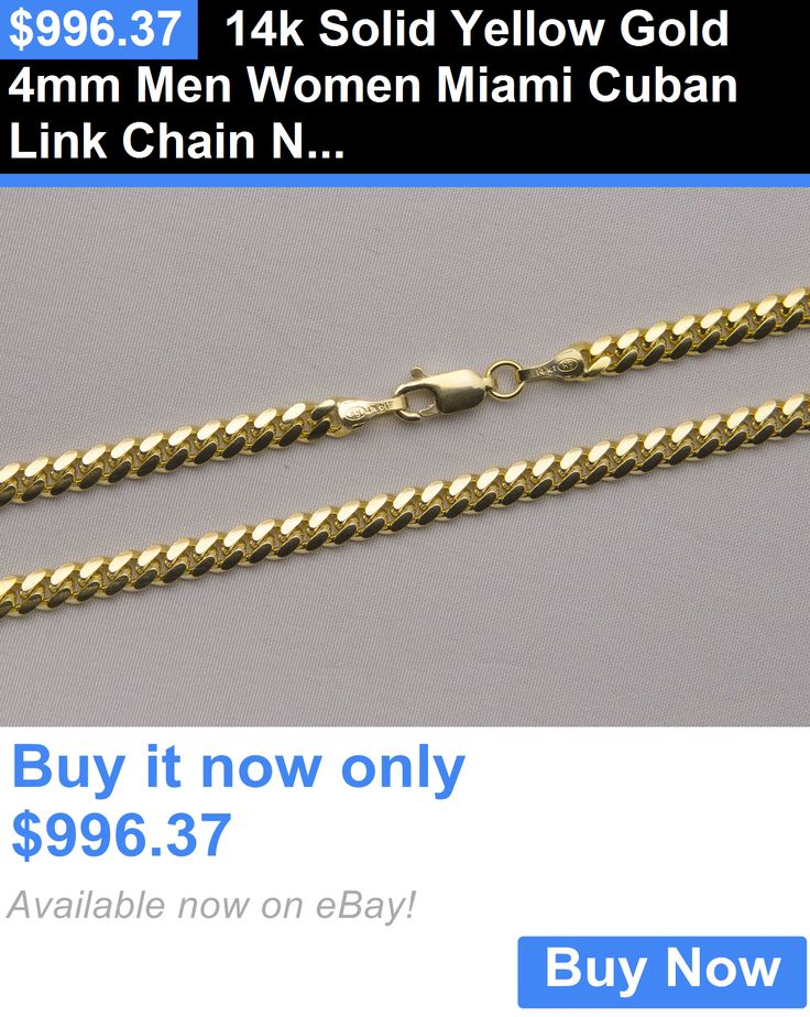 Men Jewelry: 14K Solid Yellow Gold 4Mm Men Women Miami Cuban Link Chain Necklace Size 20-36 BUY IT NOW ONLY: $996.37