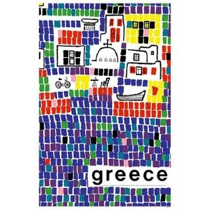 Greece Abstract Art Tile Mosaic Travel Poster 11x17