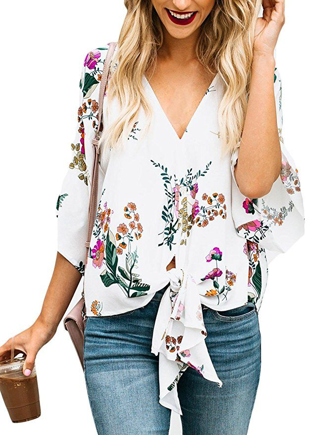 e3dcfd8d FARYSAYS Women's Summer Floral Print V Neck Tie Knot Front T-Shirt Top  |Spring Outfit Ideas Casual