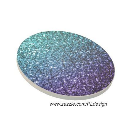 Aqua blue Ombre glitter sparkles Drink Coaster by #PLdesign #home #homedecor #BlueSparkles #SparklesGift @zazzle