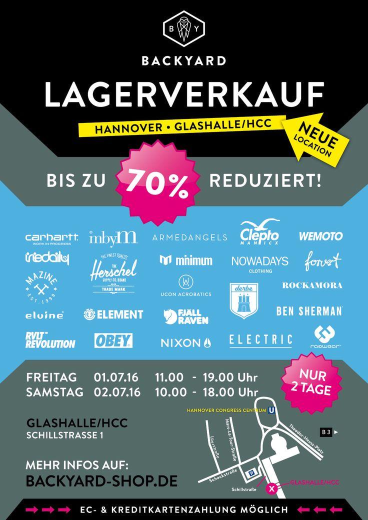 Hannover, es ist wieder soweit! Am 01.+02.07.16 findet der große BACKYARD Spring/Summer Lagerverkauf in der Glashalle beim Hannover Congress Centrum statt! Mit im Gepäck haben wir feinste Streetwear und noch mehr modische Labels mit bis zu 70% Rabatt für Euch!! #backyardlagerverkauf #sale