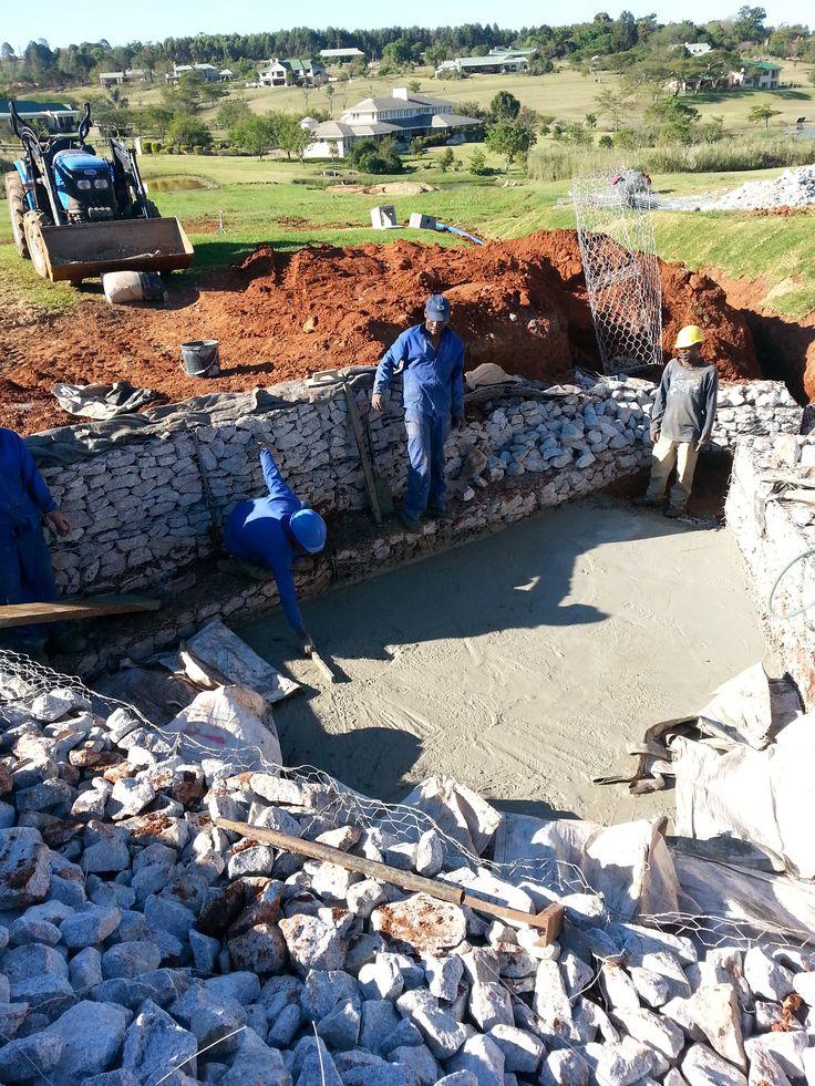 #Concrete floor and #gabion #construction