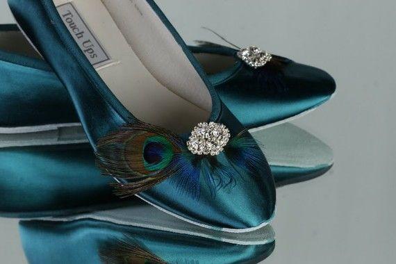 Satin Teal Bridal Slippers