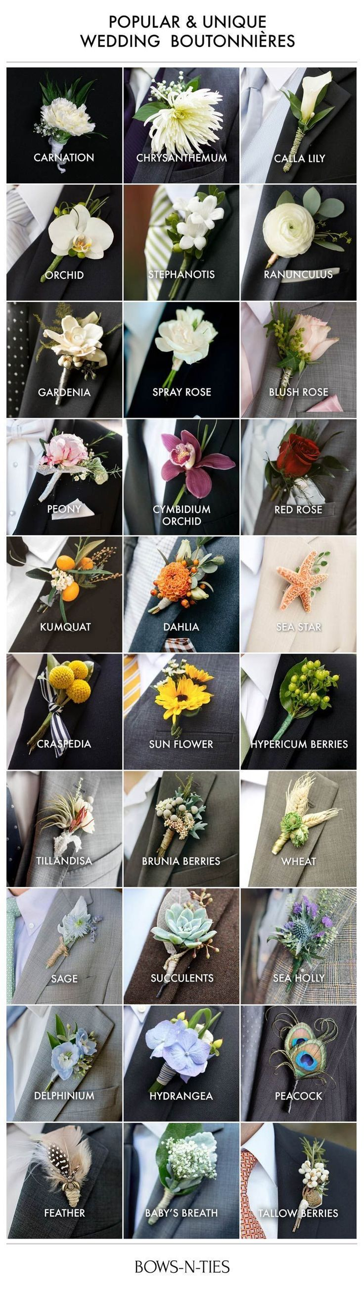 Here's an amazing guide to boutonnieres that not only lists the most popular and unique options but also breaks them down by wedding theme. #weddingplanning