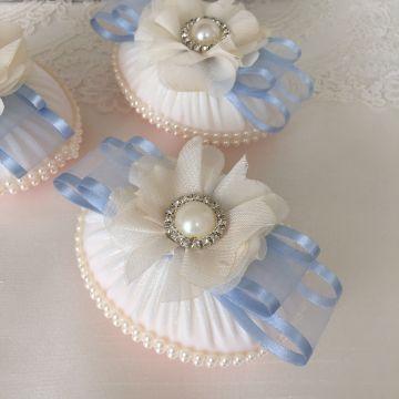 Şifon Çiçekli Sabun | Mavi