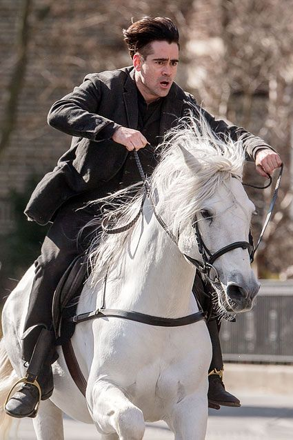 "Colin Farrell rode in on a white horse while filming his new movie Winter's Tale in Brooklyn, New York on Feb. 17, 2013. The movie is ""a fantasy story set in 19th Century and present-day Manhattan and revolves around a thief, a dying girl, and a flying white horse."""