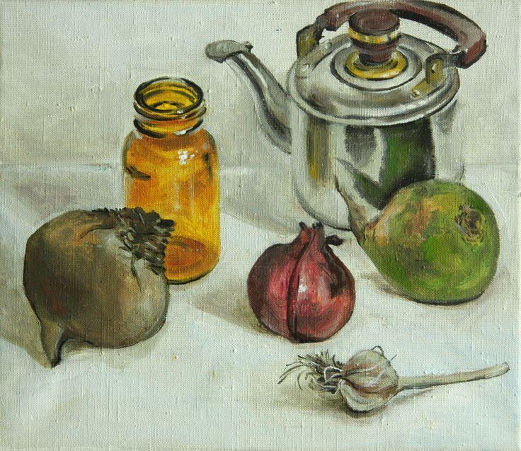 натюрморт с овощами и желтой стеклянной банкой (Картина),  30x35x1,5 cm - Kate Kozlova Простые обыденные предметы написанные в традиционной манере. Красота обычных вещей, тех которые окружают нас каждый день.