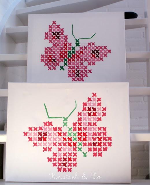 Schilderijtje van borduurpatroon vlinder Eline Pellinkhof.