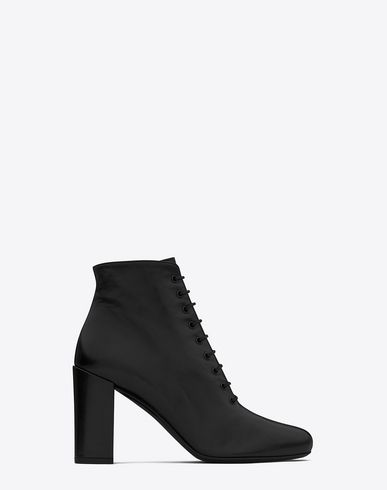 SAINT LAURENT BABIES 90 LACE UP ANKLE BOOT IN BLACK LEATHER | YSL.COM