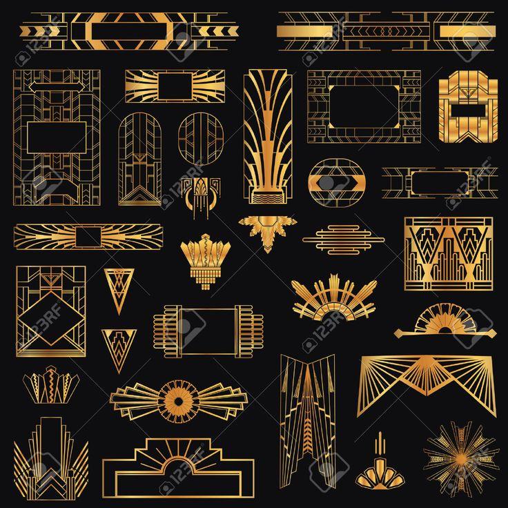 Art Deco Vintage Rahmen und Design-Elemente
