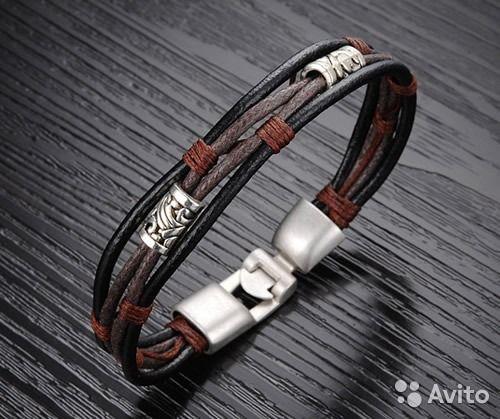 Стильные кожаные мужские браслеты