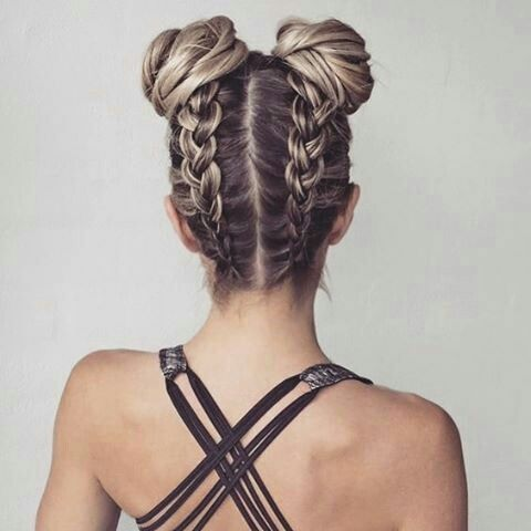 Bear with me... not upside down but what about two french braids that end in buns??