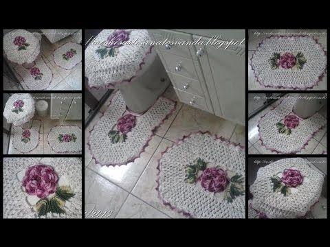 Vídeo aula da flor do jogo de banheiro em crochê com flores parte 1 de 5, vídeo com legendas.