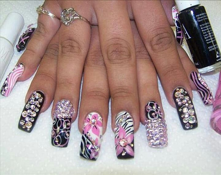 Ghetto fabulous nail design w / bling. ..love it! - 14 Best Images About $$NailFreaks$$ On Pinterest Stiletto Nail
