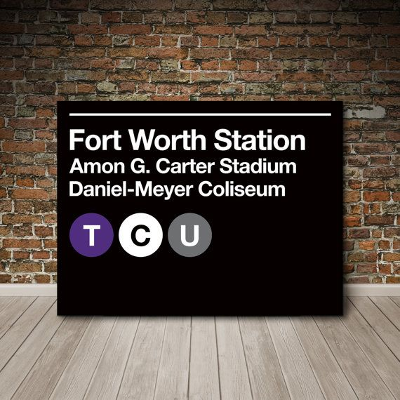 Texas Christian Univeristy TCU Subway Sign Canvas by SussiesHome