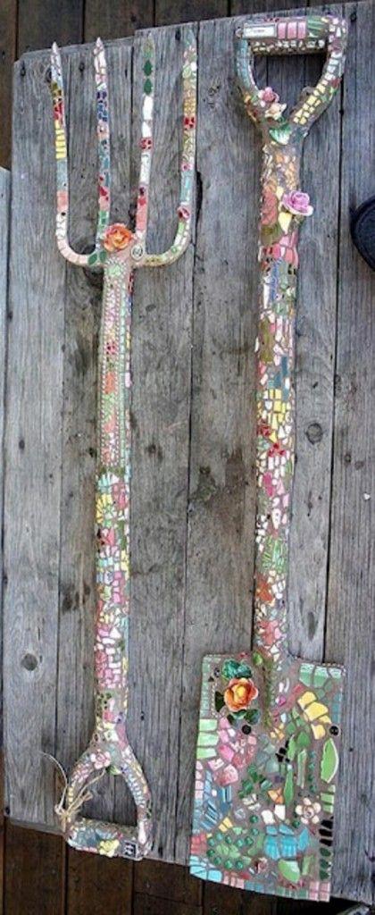 mosaik werkzeuge basteln anleitung garten gestalten