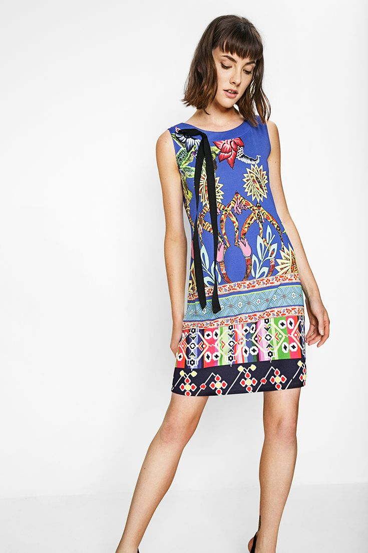 Desigual sleeveless blue dress with a print full of color! Discover all Desigual collection!