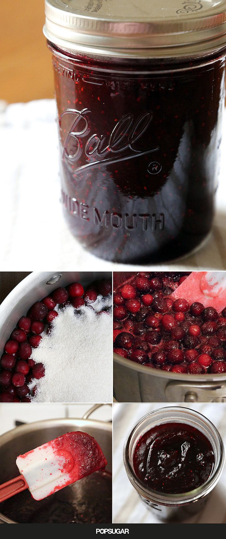 Quick, 2-ingredient cranberry jam for Thanksgiving. Frozen cranberries make cranberry sauce!