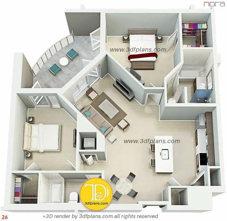 Multifamily 3d Floor Plans Nora 3d Floor Plans In 2021 Apartment Floor Plans Apartment Floor Plan Apartment Layout
