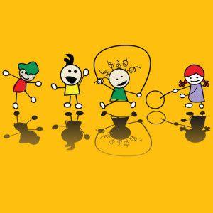 Happy children playing games, vector art