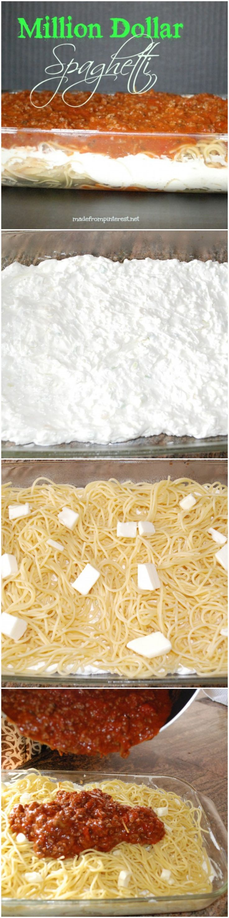 Million Dollar Spaghetti-made this for a family gathering (used curly noodles)..everyone loved it..from toddlers to grandparents! R-3