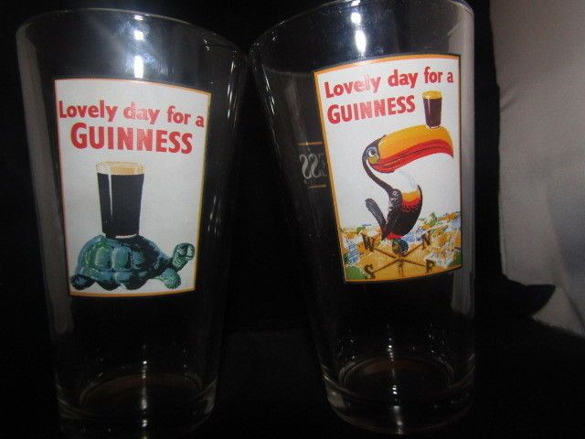 Lovely Day For a Guinness Glasses Toucan and Turtle Draught Set of 2 #Guinness
