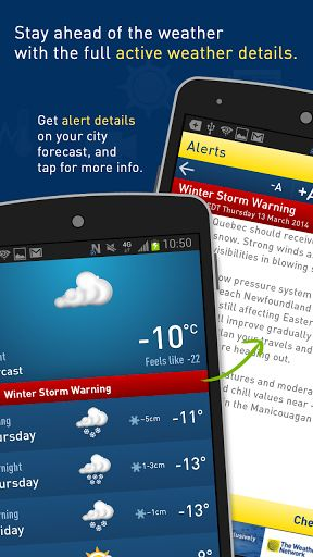 Description:<p>Have all of your weather information and forecast details at your fingertips, with the redesigned Weather Network app for Android. The interactive UI and clean design provide an 'at-a-glance' view of current, short-term weather, the latest news and videos, along with detailed maps and charts.  <p>Key features:<br> - Detailed weather forecasts including current, short term, long term, hourly forecasts and 14 day trends<br> - Severe weather and storm alerts to notify you when a…