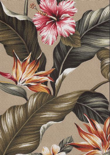 Kahua Beige Bark Crepe Upholstery fabric, Bird of Paradise, Hibiscus, Plumeria, Cotton Hawaiian vintage style fabric.Add Discount code: (Pin10) in comment box at check out for 10% off sub total at BarkclothHawaii.com