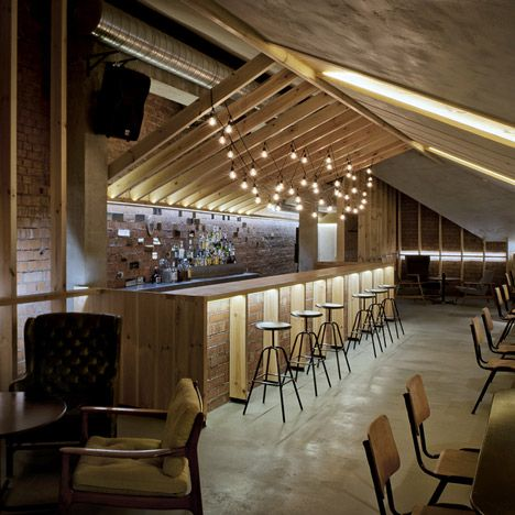 Lithuanian studio inblum architects has inserted a bar into the attic of an old house in minsk - Bar cuisine studio ...