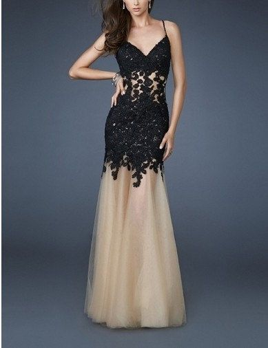 Sexy spaghetti straps mermaid applique bridal gown formal evening dress on Etsy, $138.00