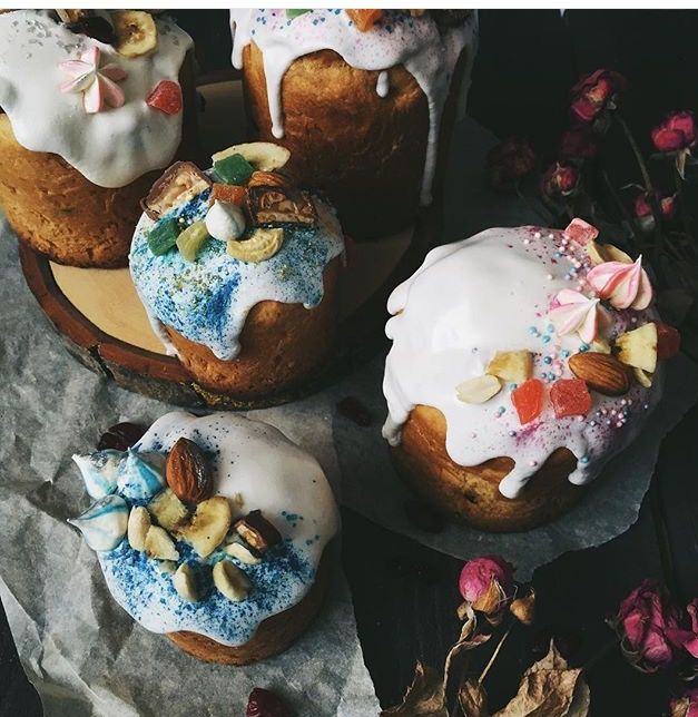 Russian Easter cakes. Kulich. Orthodox Easter. Baking. Traditional Slav recipes