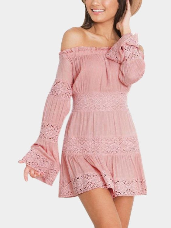 You need this mini dress in this autumn. It is adorned with off the shoulder, lace details and long flared sleeves. Pair it with high heels.