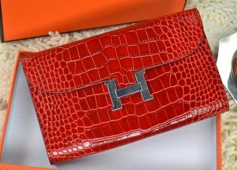 Red Crocodile Leather Hermes Constance Wallet | Hermes | Pinterest ...