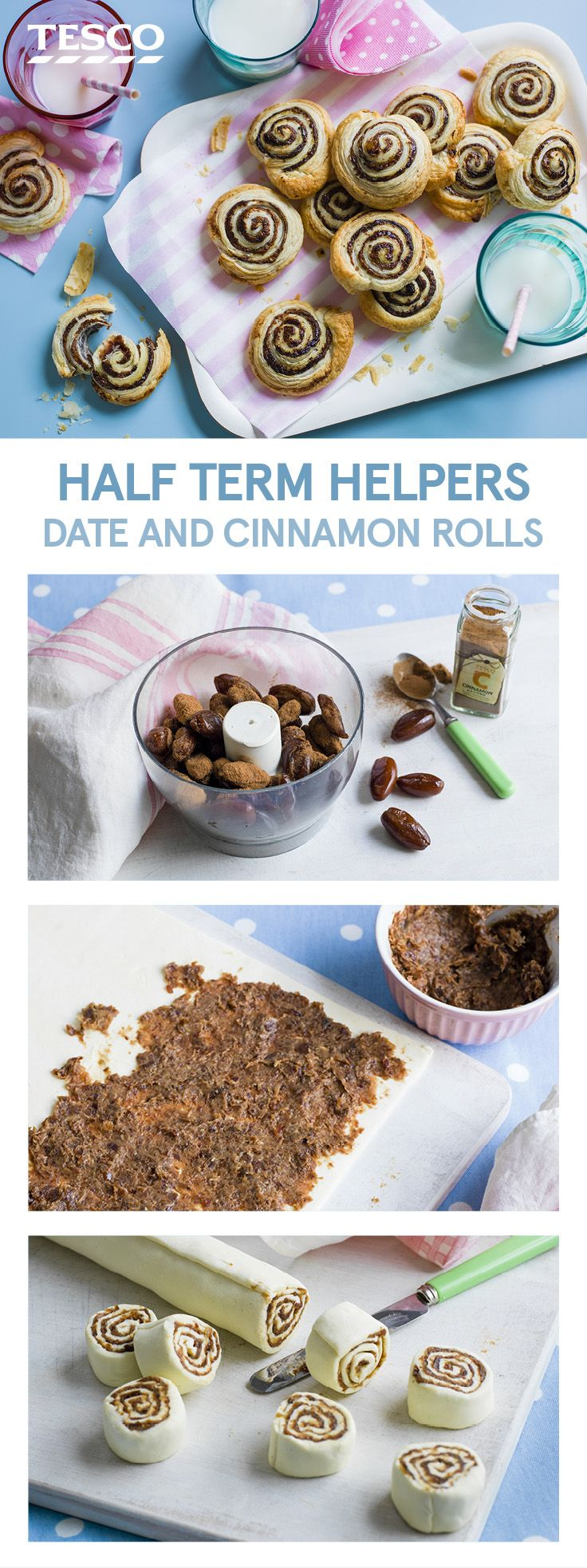 Keep the little ones fuelled for half-term adventures with these date and cinnamon rolls. Made in just three super simple steps, these delicious pastries are a great way to get kids excited about baking. | Tesco